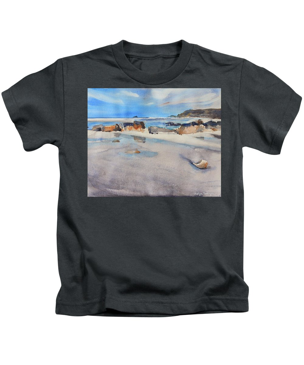 Sennen Cove Kids T-Shirt featuring the painting Sennen Cove Low Tide by Ibolya Taligas