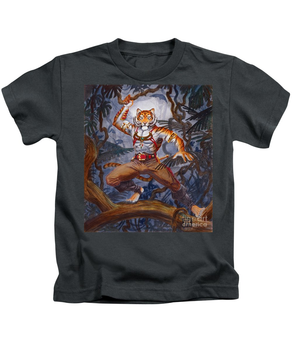 Cat Kids T-Shirt featuring the painting Sense Dark by Melissa A Benson