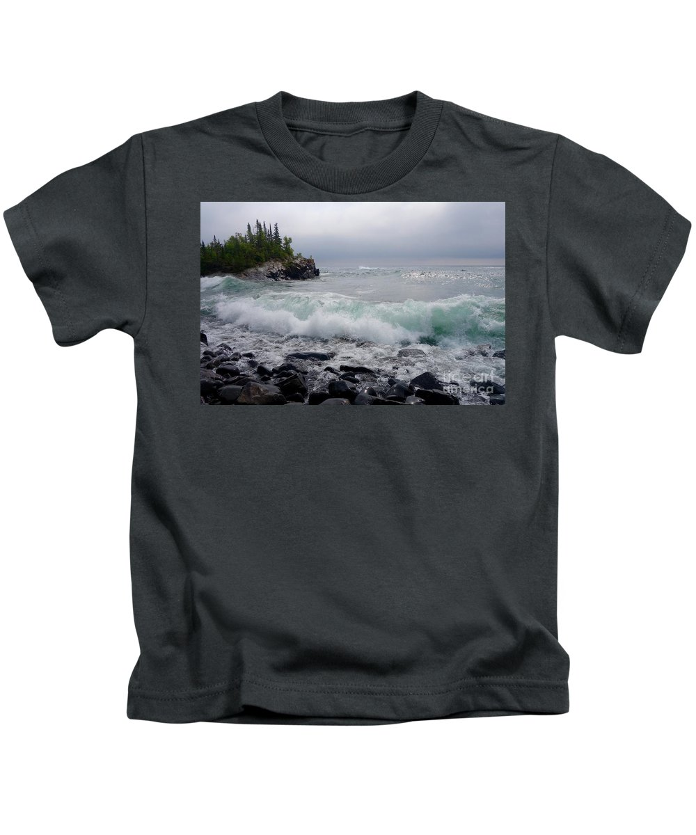 Lake Superior Kids T-Shirt featuring the photograph September Storm #3 by Sandra Updyke