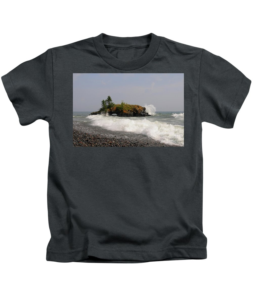 Hollow Rock Kids T-Shirt featuring the photograph September Storm At Hollow Rock by Sandra Updyke