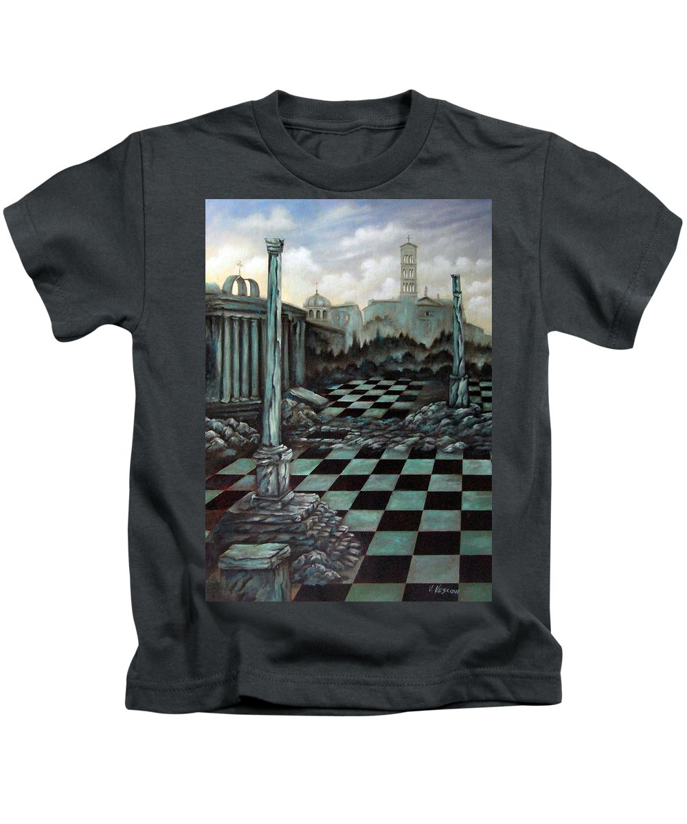 Surreal Kids T-Shirt featuring the painting Sepulchre by Valerie Vescovi