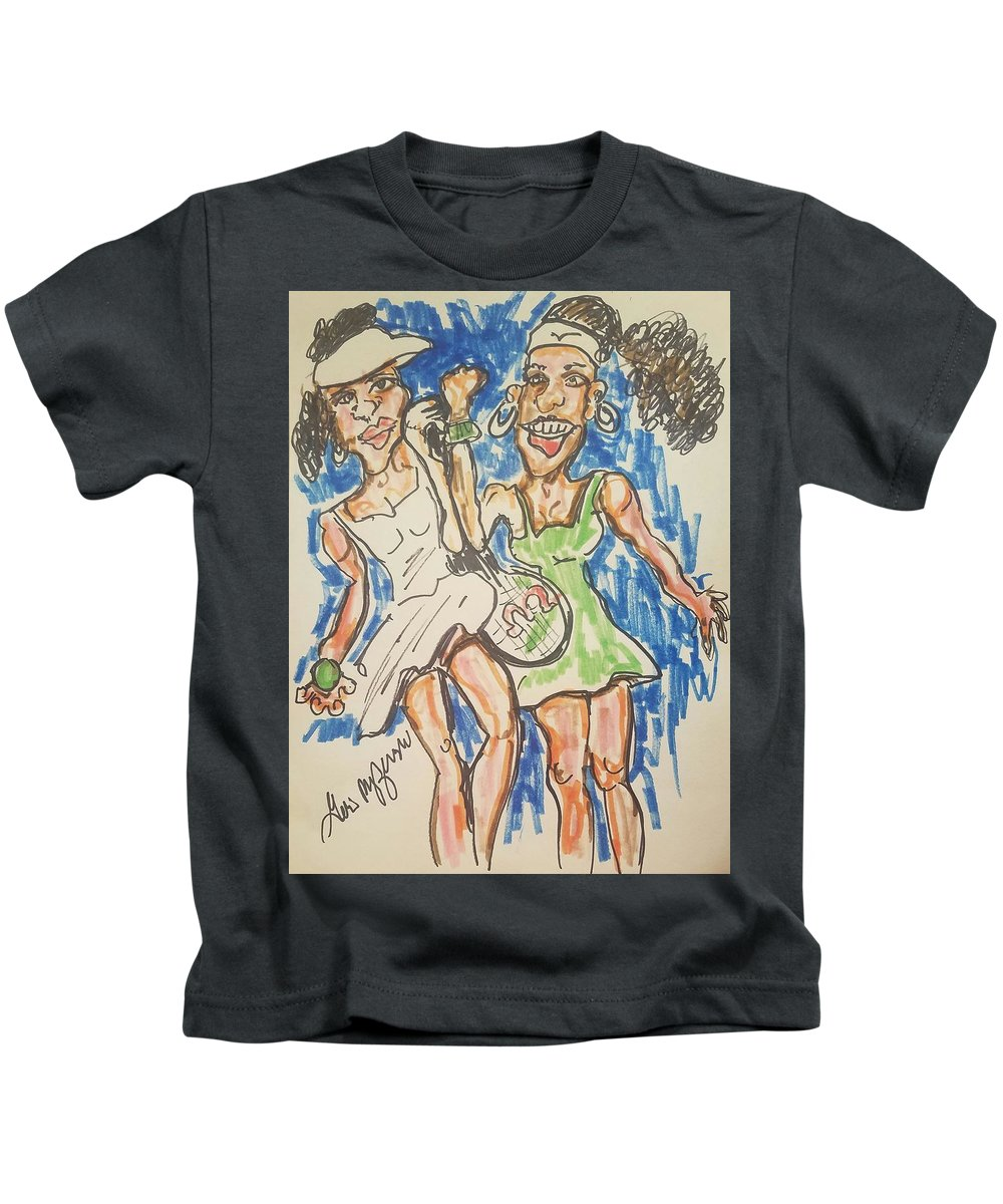 Williams Sisters Kids T-Shirt featuring the drawing Serena And Venus Williams by Geraldine Myszenski