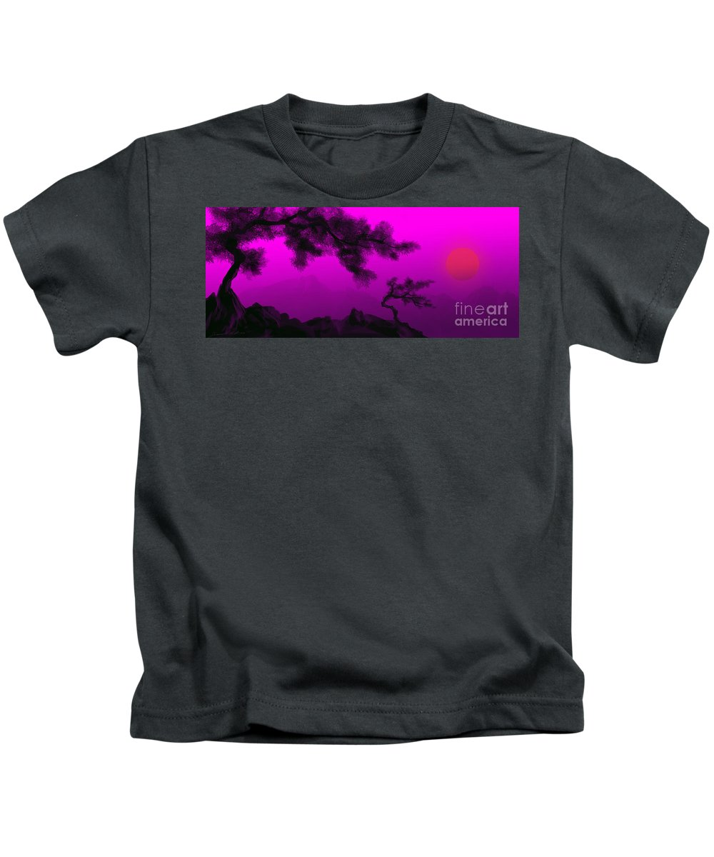 Japanese; Sunset; Mountains; Trees; Rising; Sun; Contemporary; Purple; Pink;sunrise; Sunset Kids T-Shirt featuring the painting Serenity by James Christopher Hill