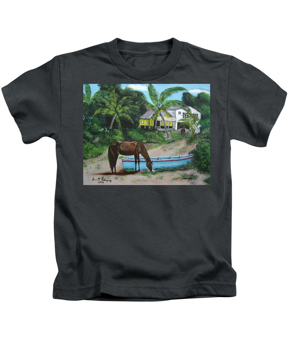 Aguadilla Kids T-Shirt featuring the painting Serenity by Luis F Rodriguez