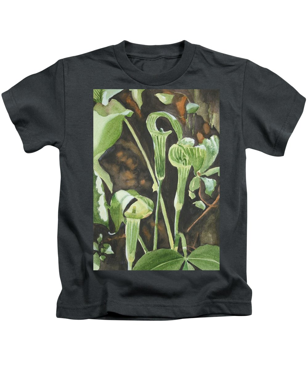 Woods Kids T-Shirt featuring the painting Sermon In The Woods by Jean Blackmer