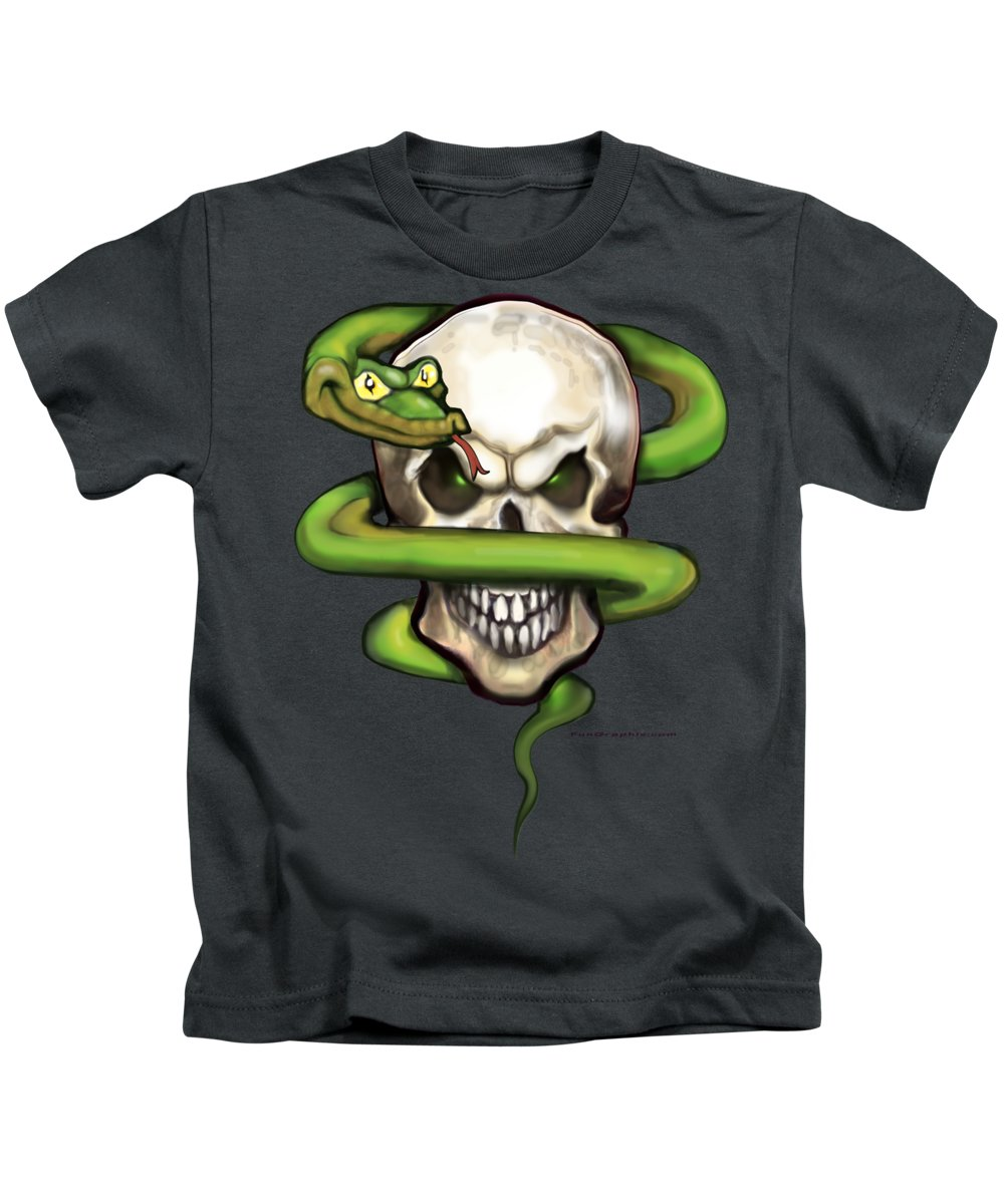 Serpent Kids T-Shirt featuring the digital art Serpent Evil Skull by Kevin Middleton