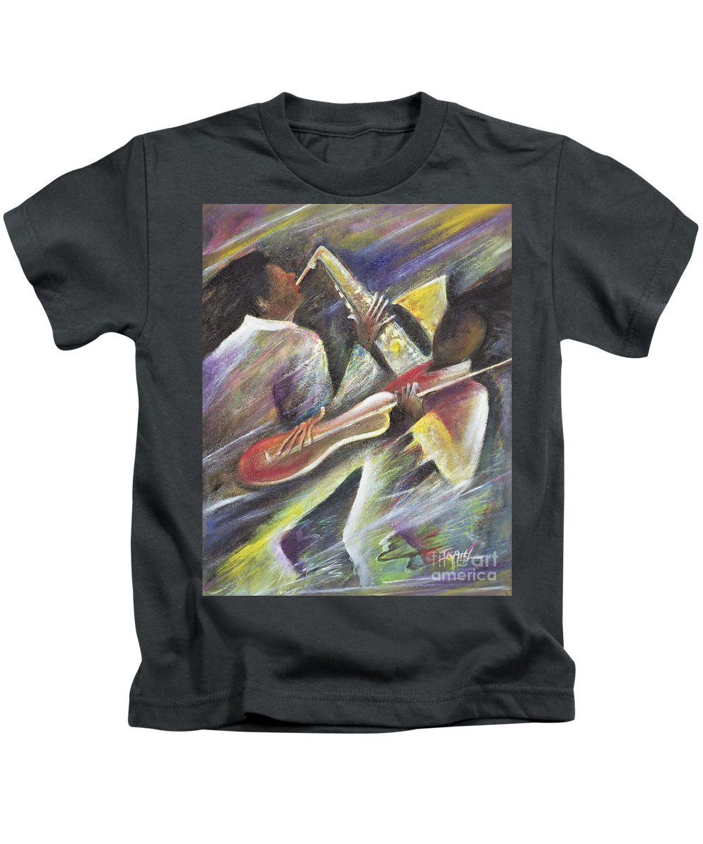 African-american; African Kids T-Shirt featuring the painting Session by Ikahl Beckford