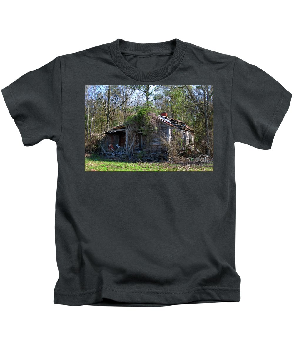 Nature Kids T-Shirt featuring the photograph Shack In The Wood by Skip Willits
