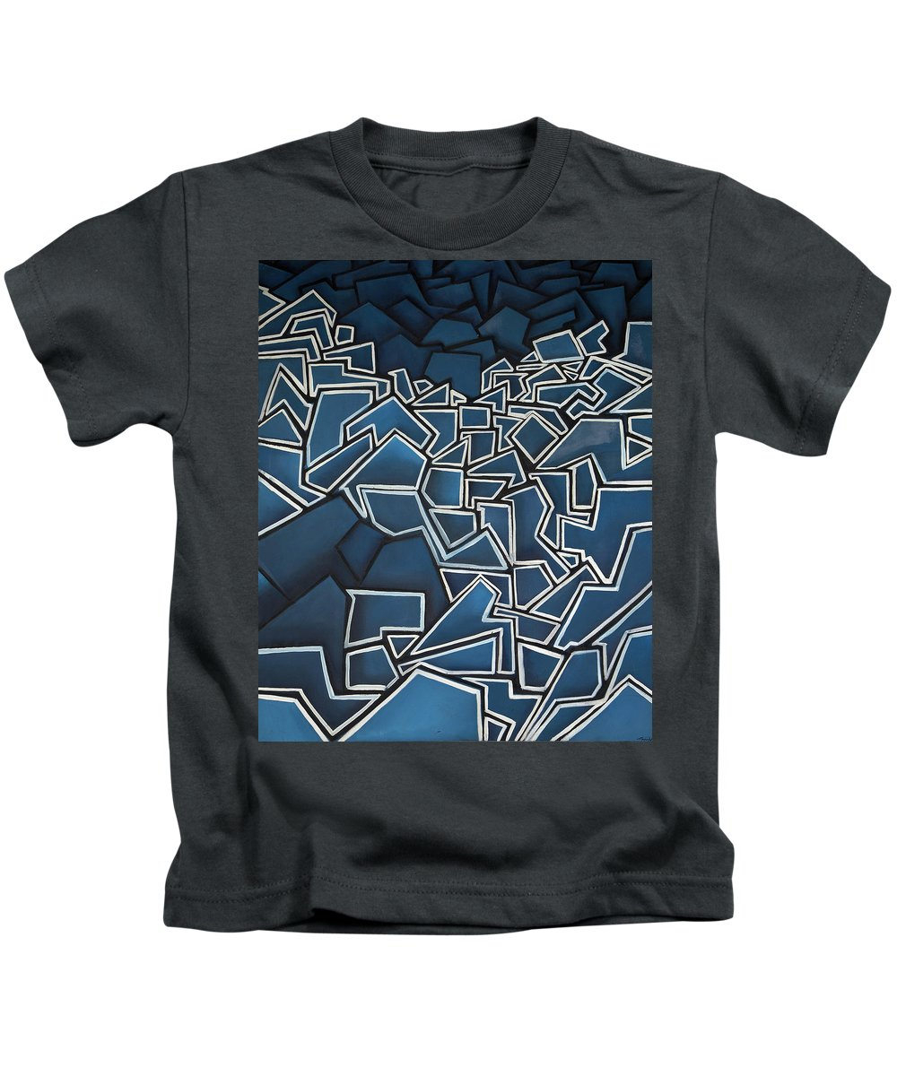 Abstract Kids T-Shirt featuring the painting Shadderd Space by Thomas Valentine