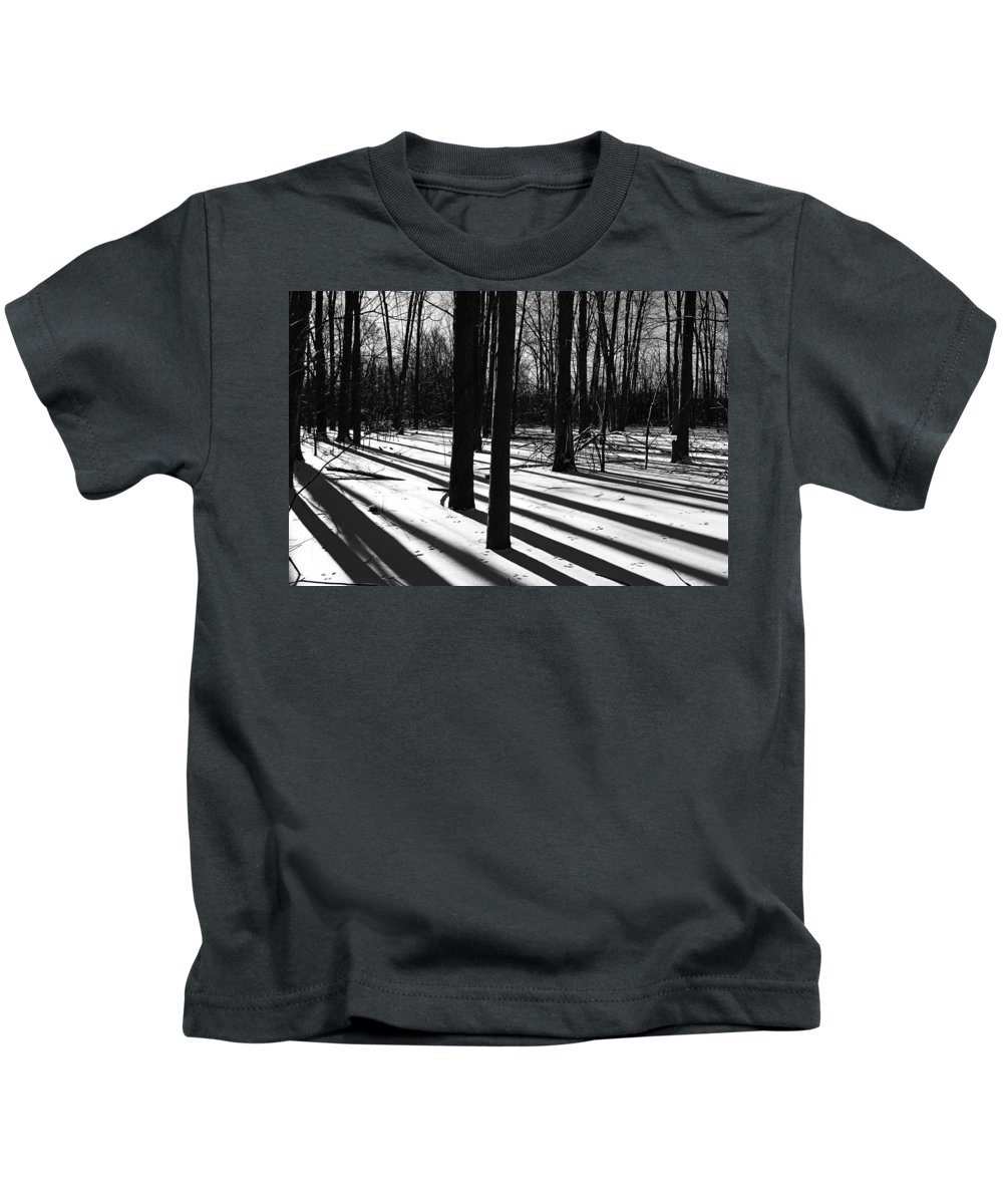 Shadows Kids T-Shirt featuring the photograph Shadows And Tracks by Debbie Oppermann
