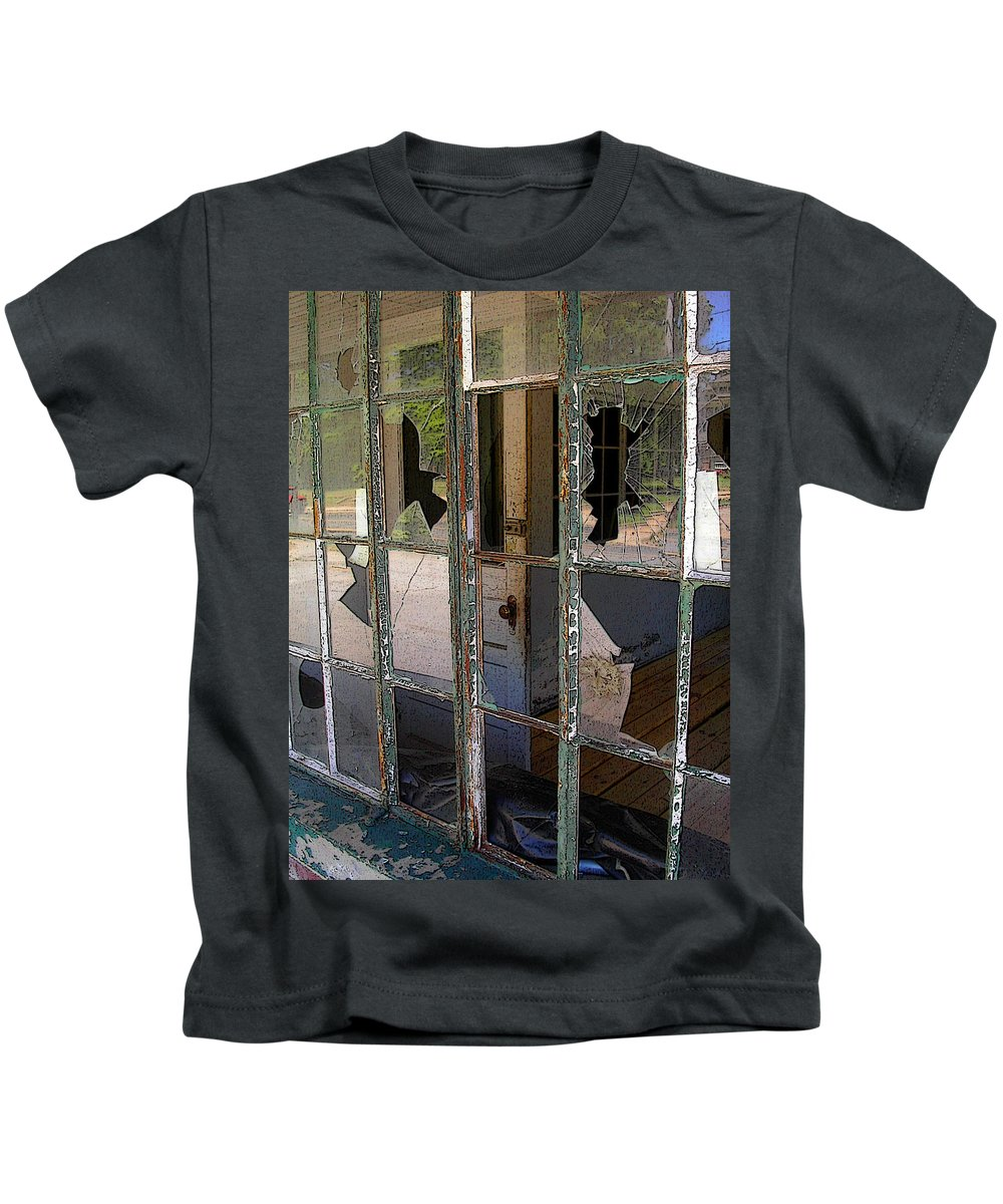 Window Kids T-Shirt featuring the photograph Shattered by Anne Cameron Cutri