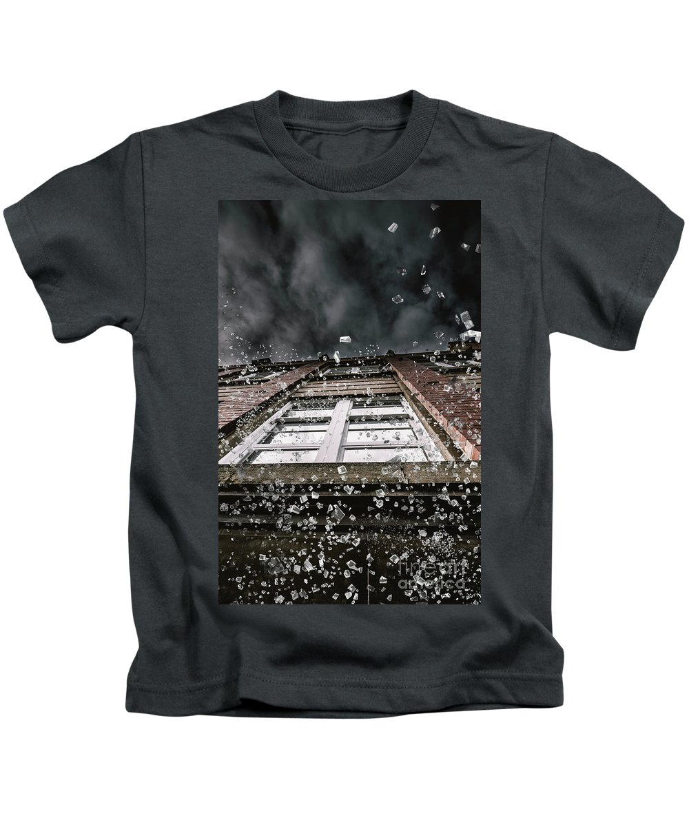 Apartment Kids T-Shirt featuring the photograph Shattering Pieces Of Glass Falling From Window by Jorgo Photography - Wall Art Gallery