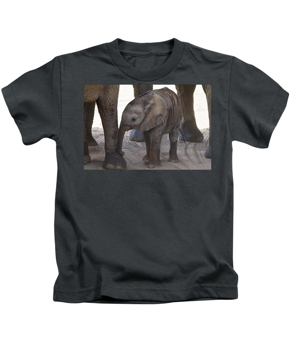 Elephant Kids T-Shirt featuring the photograph Sheltered by PiperAnne Worcester