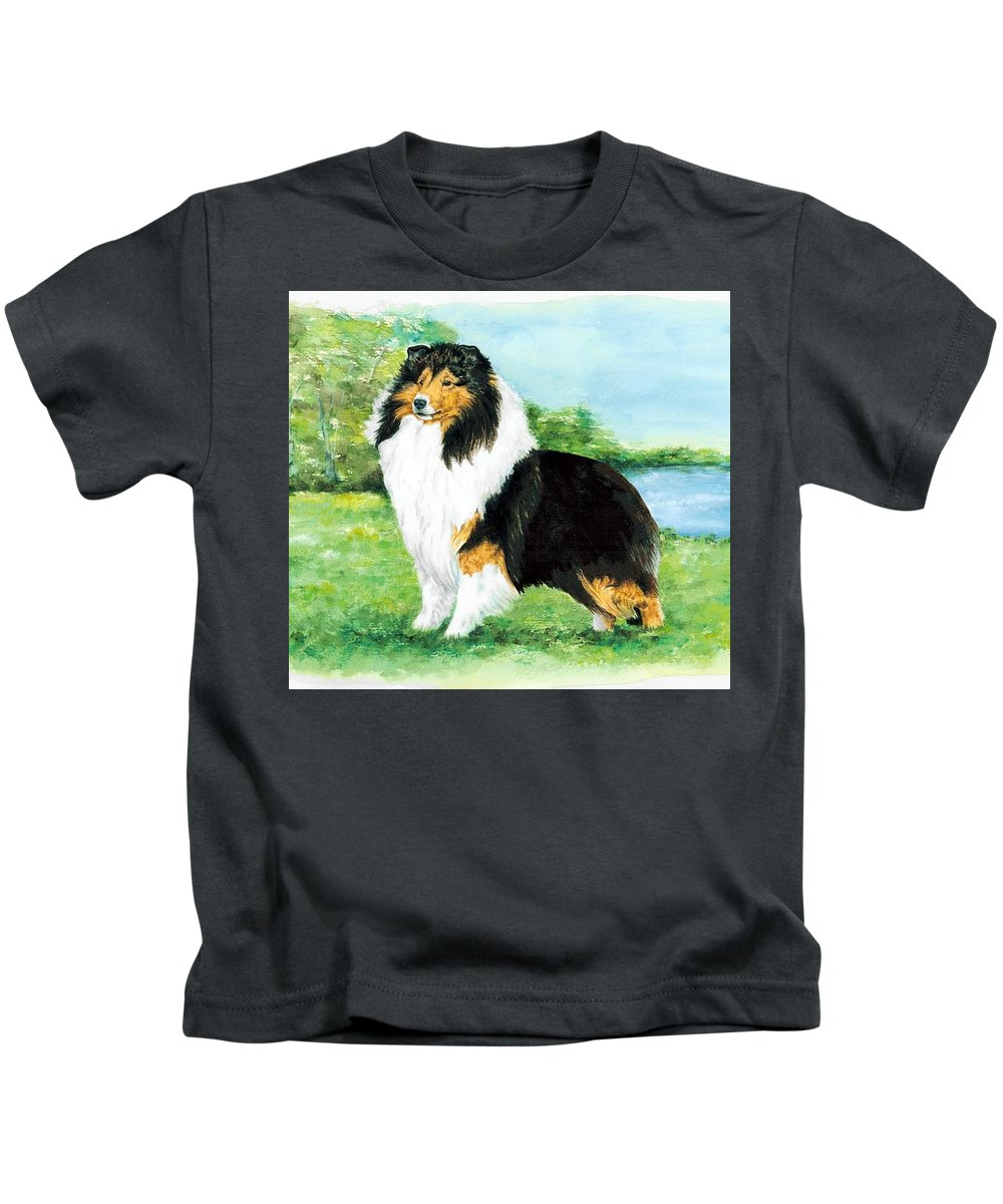 Shetland Sheepdog Kids T-Shirt featuring the painting Sheltie Wait by Kathleen Sepulveda