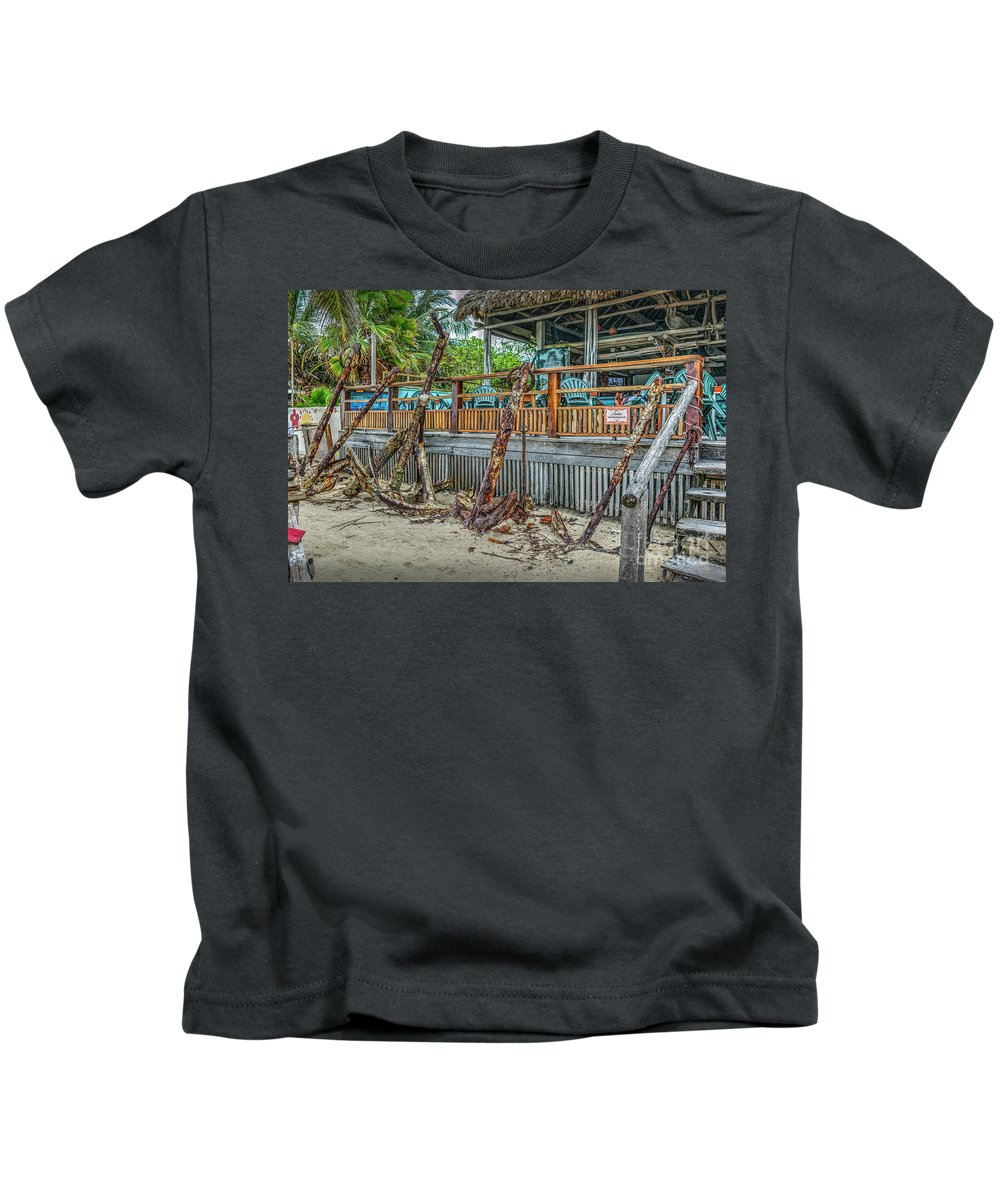 San Pedro Belize Kids T-Shirt featuring the photograph Ship Anchors From Way Ago by David Zanzinger