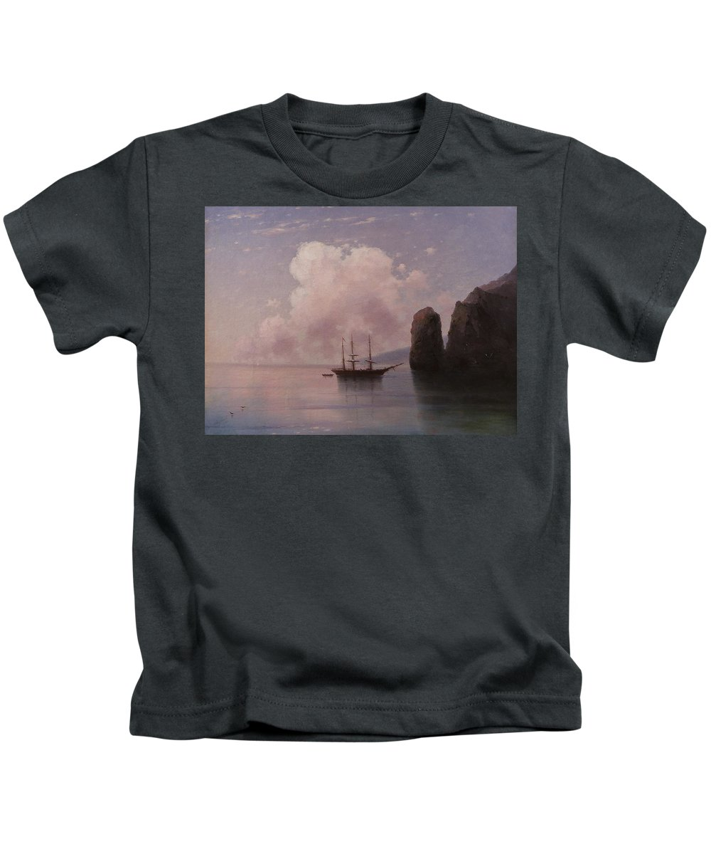 Ivan Aivazovsky (1817-1900) (ru) Ship In Calm Water At Dusk Kids T-Shirt featuring the painting Ship In Calm Water At Dusk by Ivan Aivazovsky