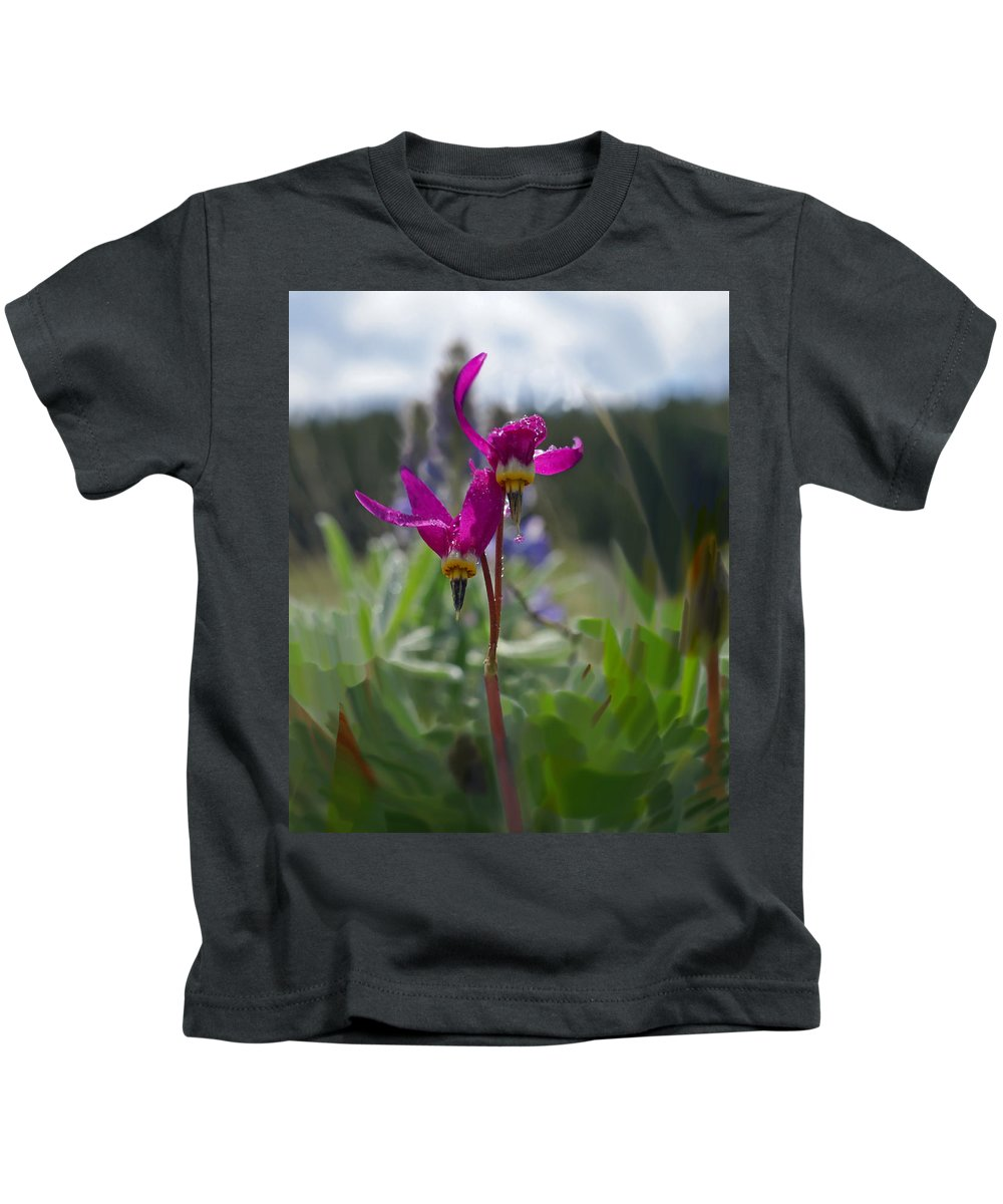 Wild Flower Kids T-Shirt featuring the photograph Shooting Star by Heather Coen