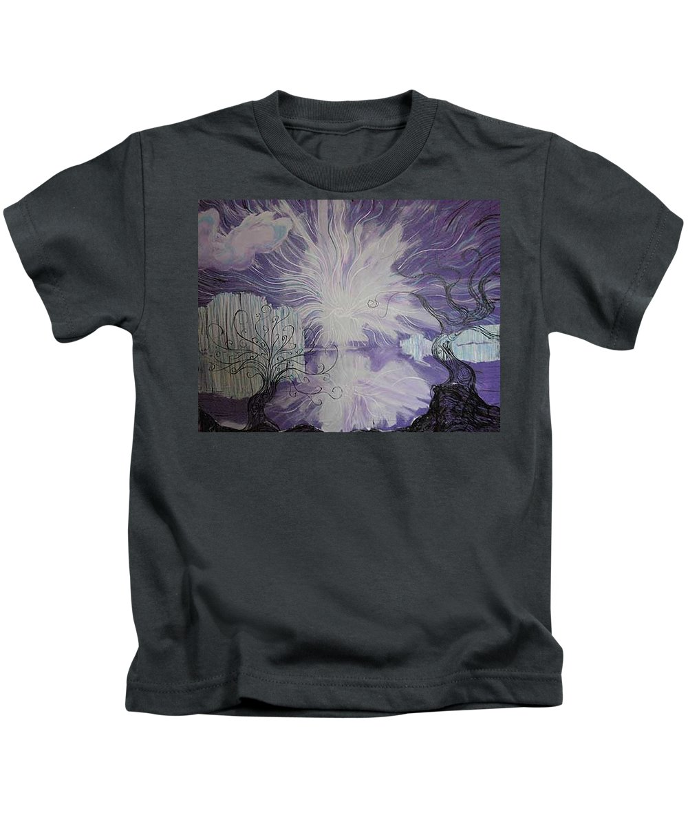 Squiggleism Kids T-Shirt featuring the painting Shore Dance by Stefan Duncan