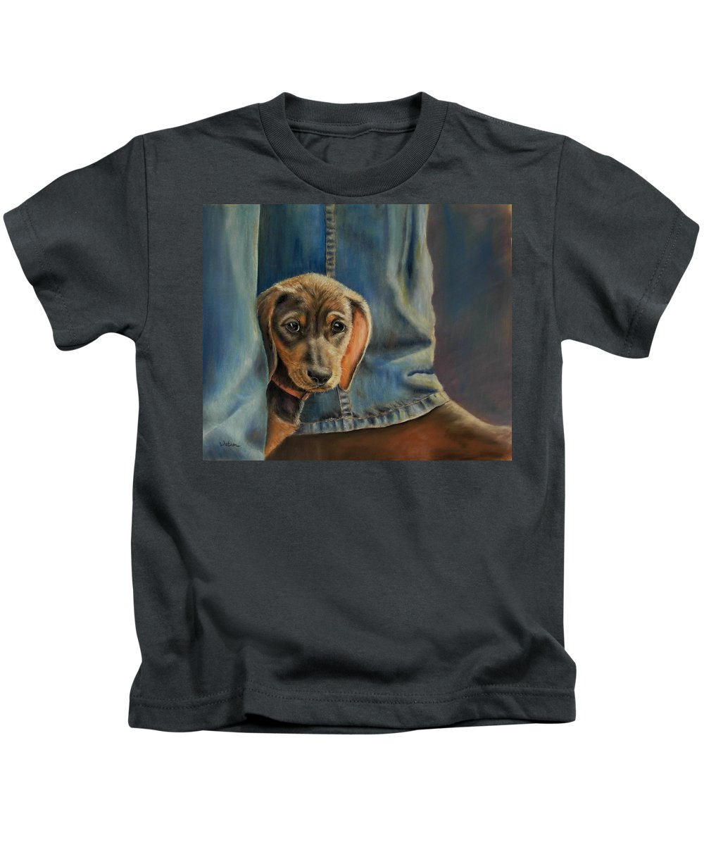 Animal Kids T-Shirt featuring the painting Shy Boy by Ceci Watson