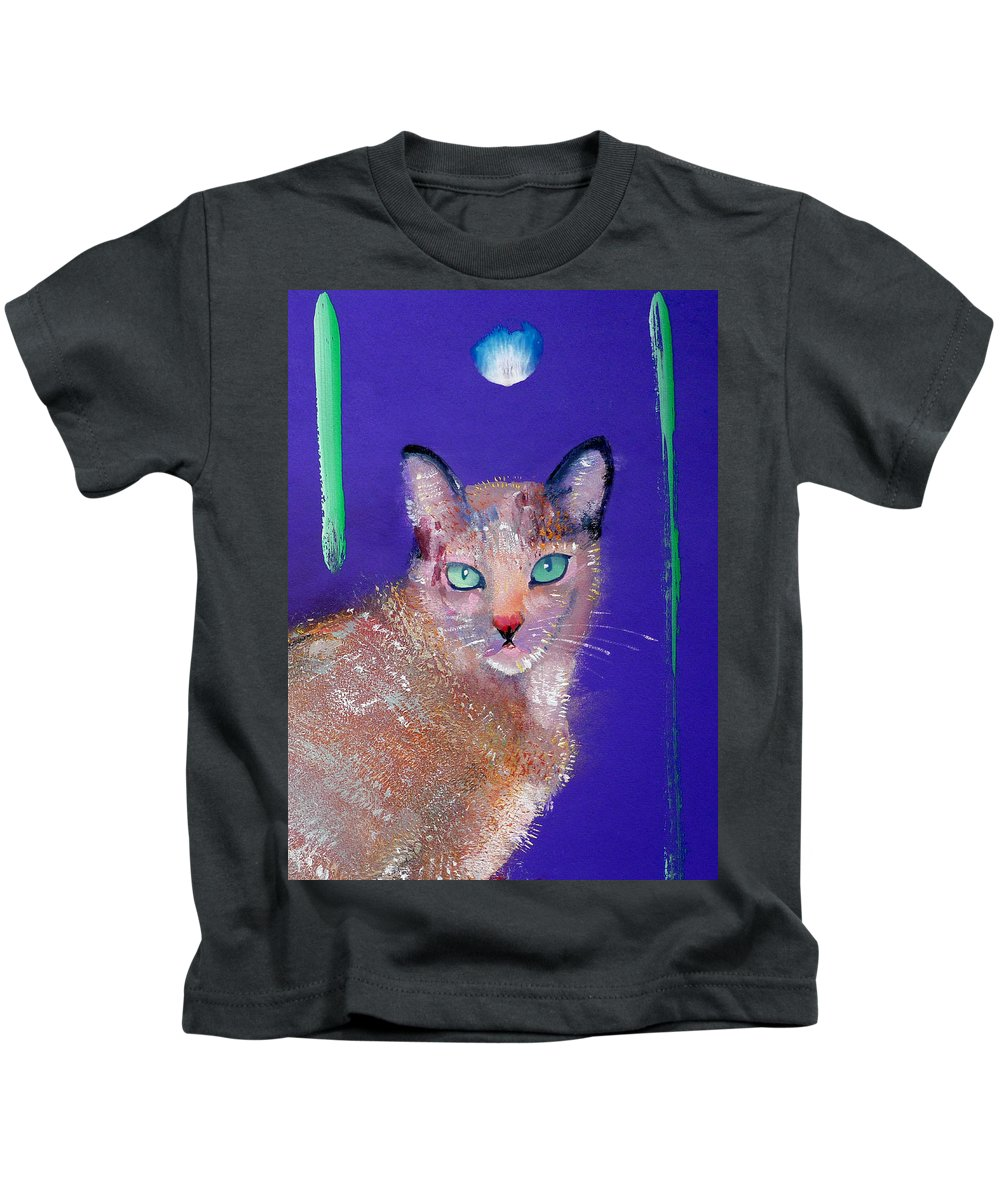 Cat Kids T-Shirt featuring the painting Siamese Cat by Charles Stuart
