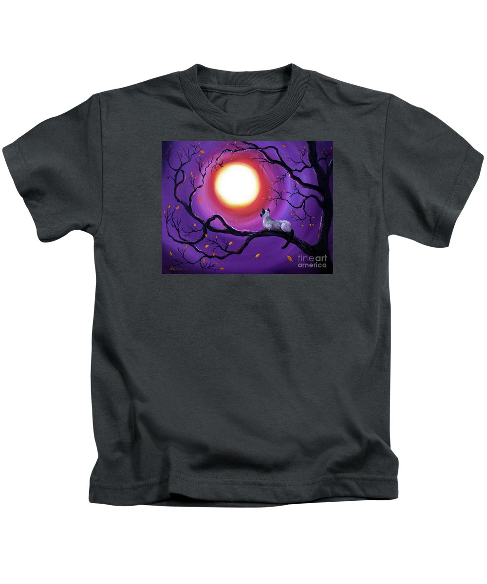 Painting Kids T-Shirt featuring the painting Siamese Cat In Purple Moonlight by Laura Iverson
