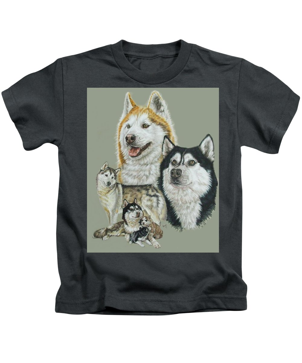 Purebred Dogs Kids T-Shirt featuring the drawing Siberian Husky by Barbara Keith