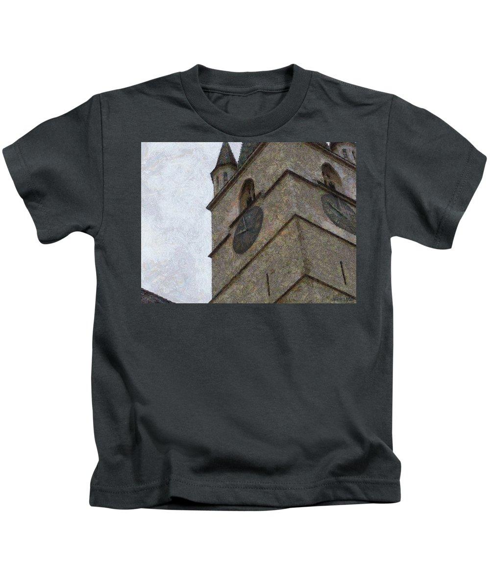 Sibiu Kids T-Shirt featuring the painting Sibiu Clock Tower by Jeffrey Kolker