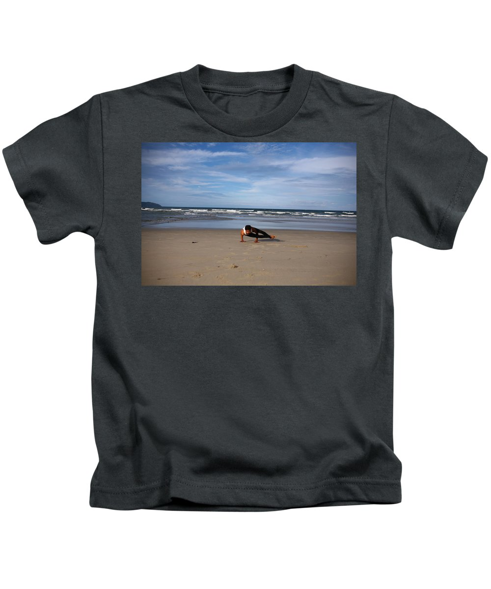 Yoga Kids T-Shirt featuring the photograph Side Crow by Amit Namdev