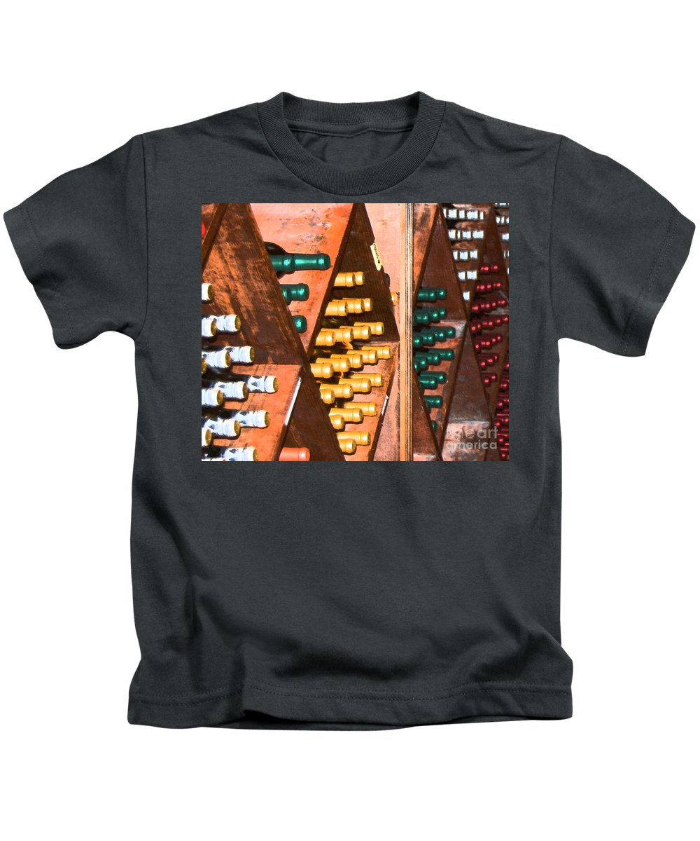 Wine Kids T-Shirt featuring the photograph Sideways by Debbi Granruth