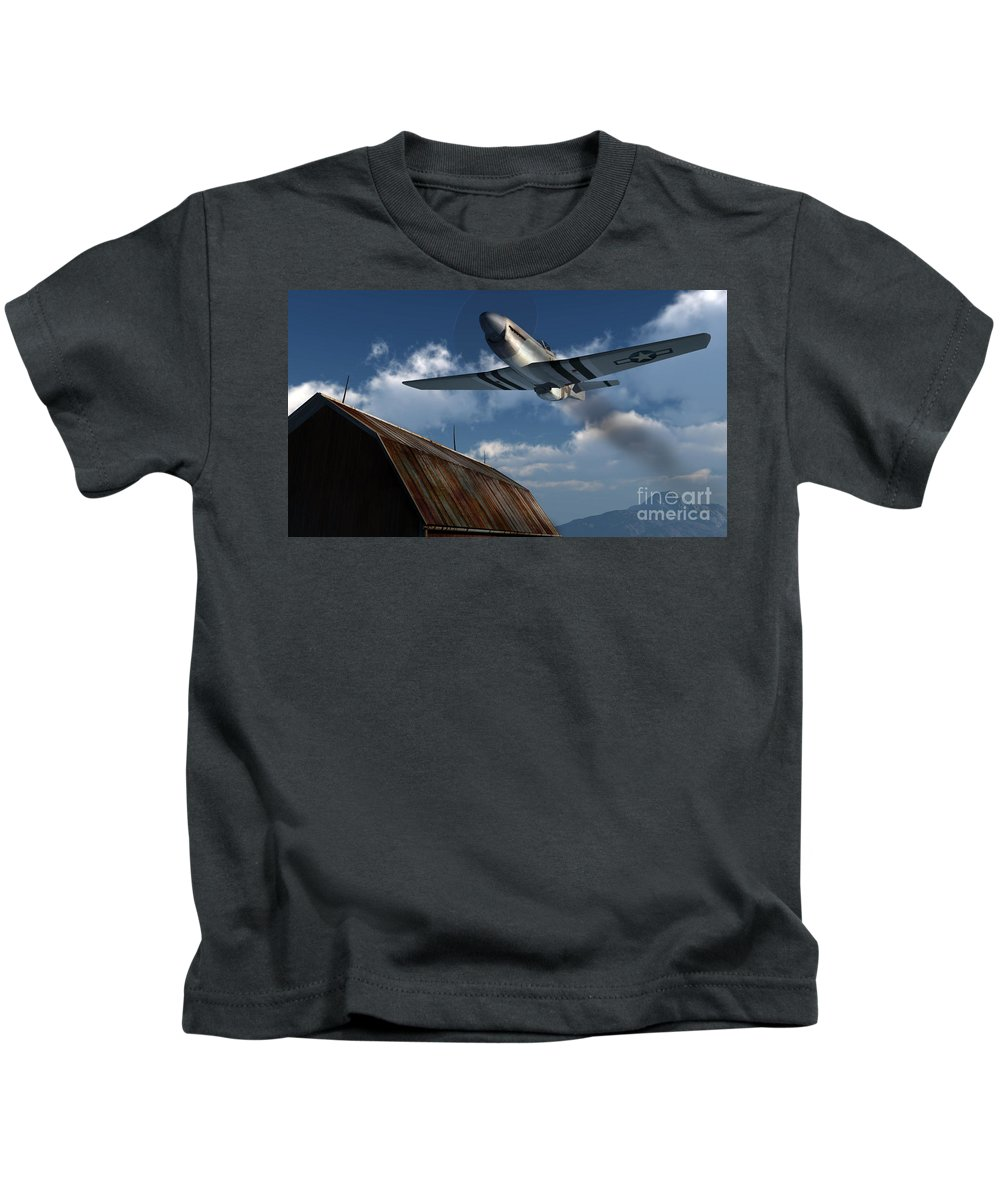 Aviation Kids T-Shirt featuring the digital art Sightseeing by Richard Rizzo