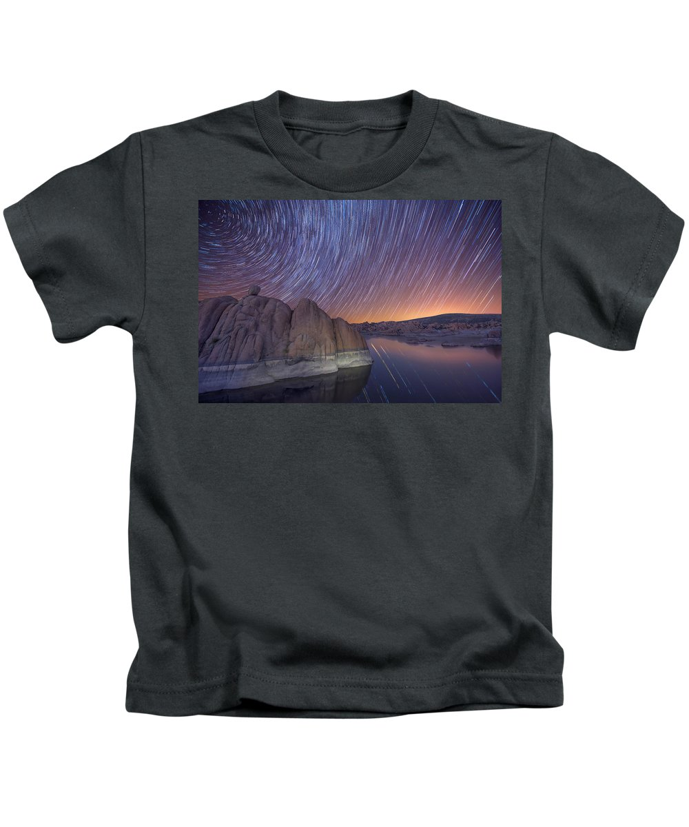 Night Sky Kids T-Shirt featuring the photograph Silent Momentum by Theresa Rose Ditson