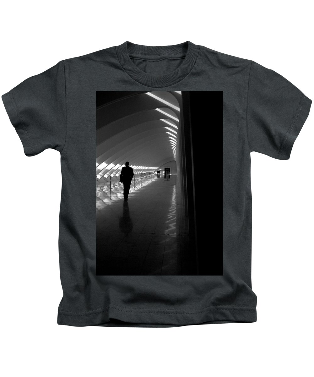 People Kids T-Shirt featuring the photograph Silhouette In The Hall by Thomas Pipia