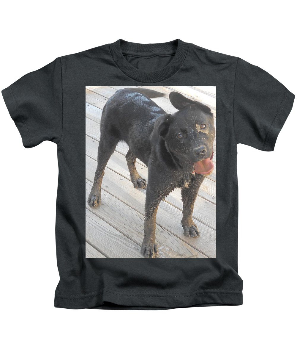 Kids T-Shirt featuring the photograph Silly Dog by Breat Johnson