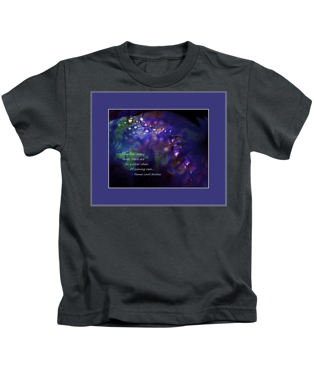 Rain Kids T-Shirt featuring the photograph Silver Chain Of Evening Rain by Phyllis Meinke