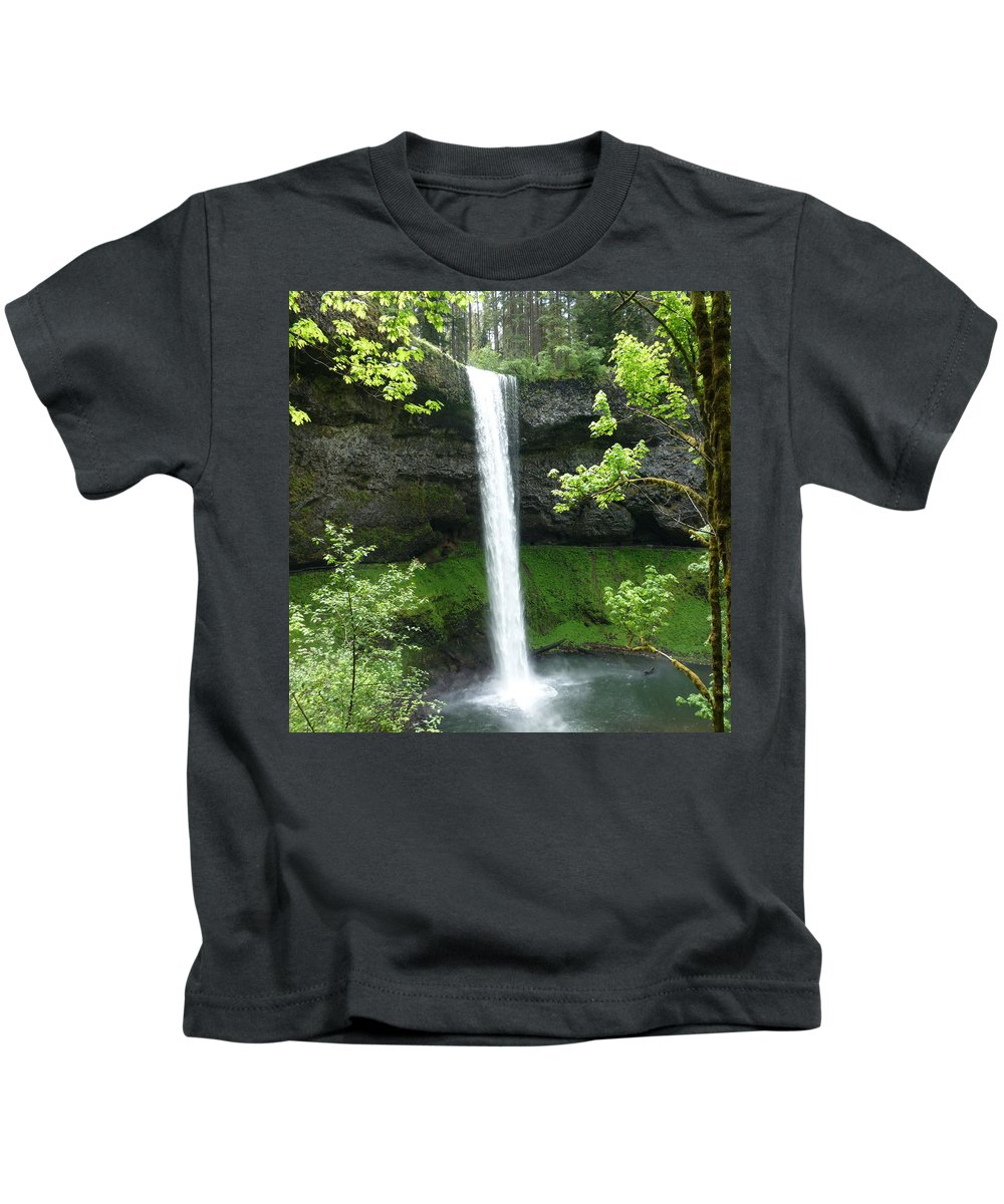 Columbia Gorge Kids T-Shirt featuring the photograph Silver Falls 1 by Ingrid Smith-Johnsen