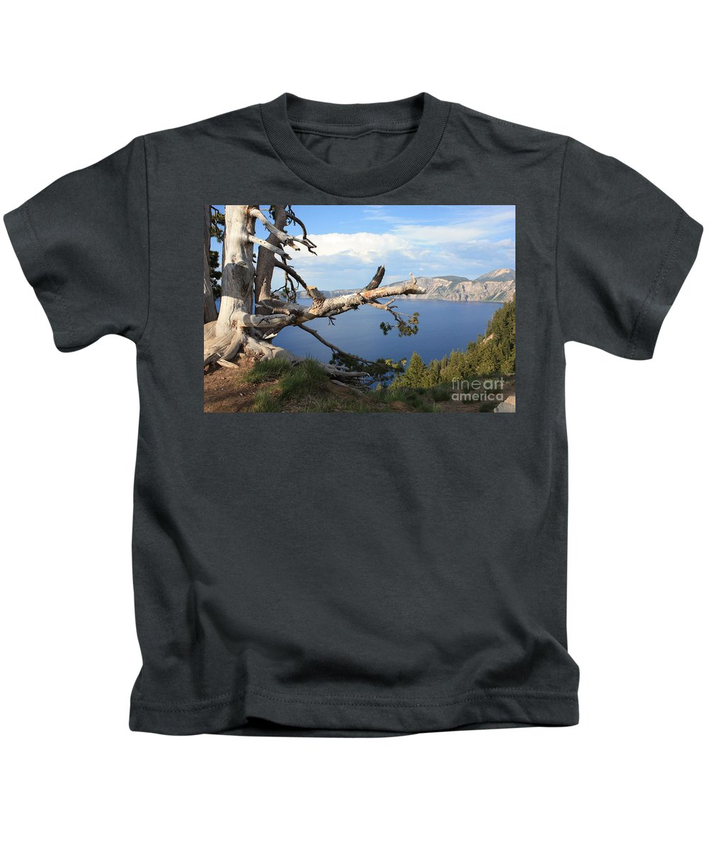 Crater Lake Kids T-Shirt featuring the photograph Silvery Tree Over Crater Lake by Carol Groenen