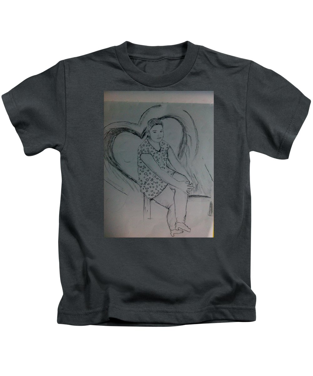 Kids T-Shirt featuring the drawing Sirstsketch by Alfred Kelwins