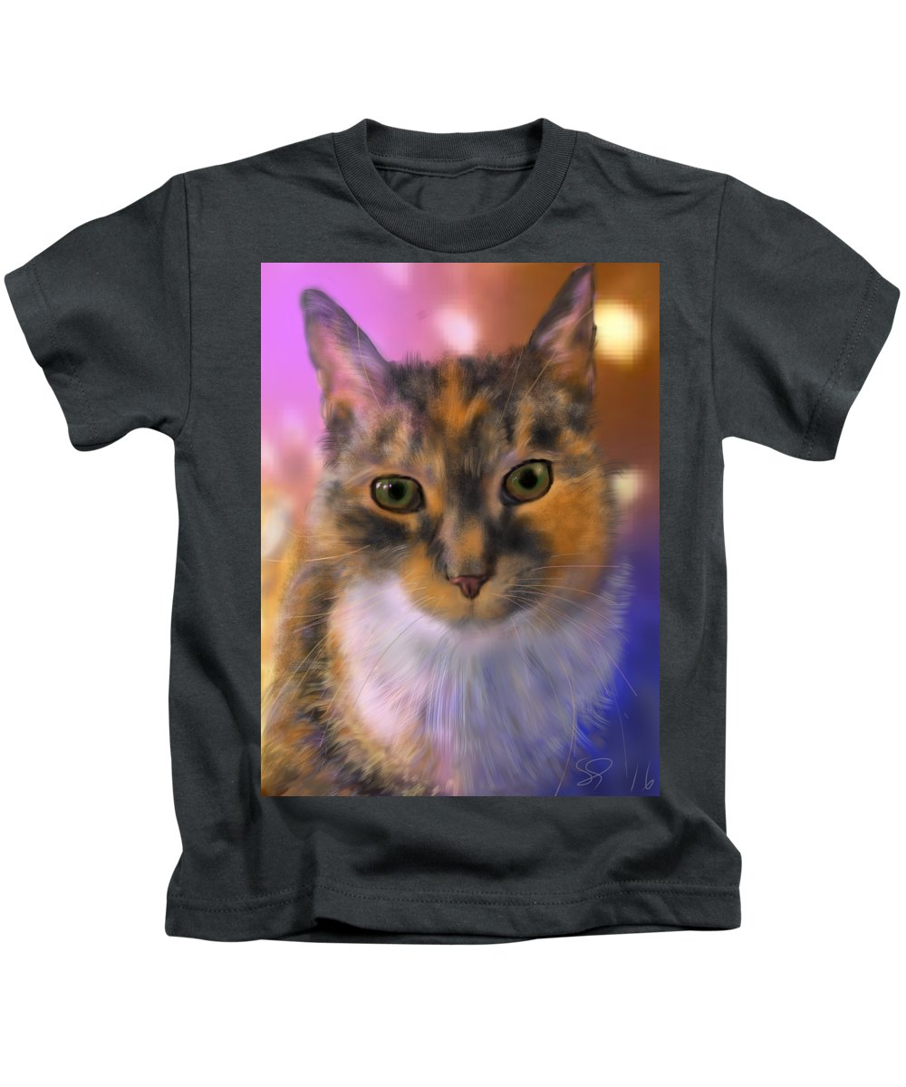 Cat Kids T-Shirt featuring the painting Sissy by Susan Sarabasha