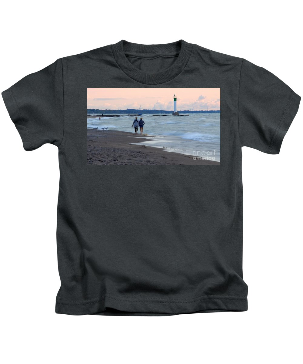 Grand Bend Kids T-Shirt featuring the photograph Sisterly Love by John Scatcherd