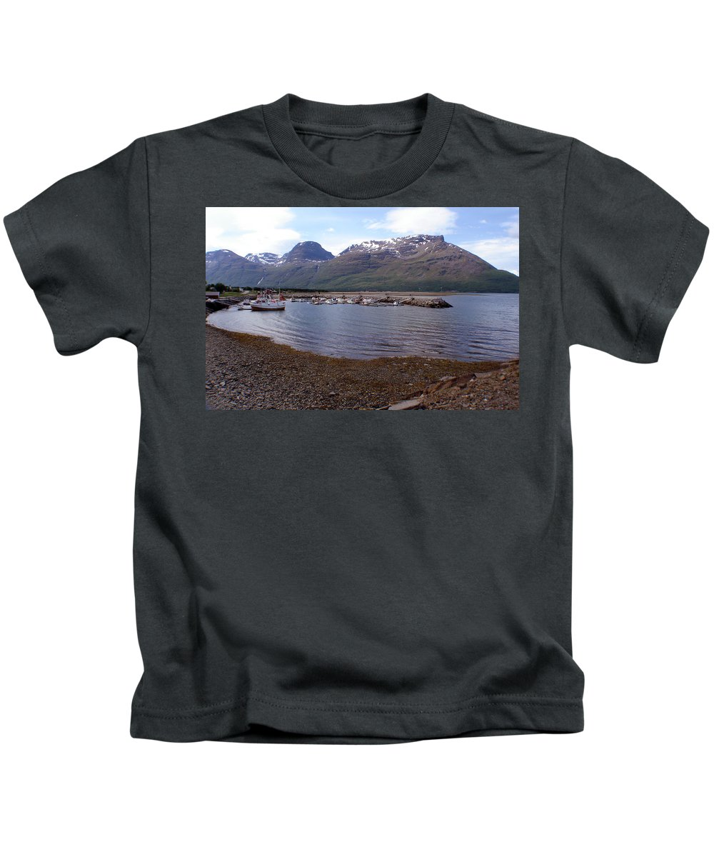 Skibotn Kids T-Shirt featuring the photograph Skibotn Harbor Norway by Merja Waters