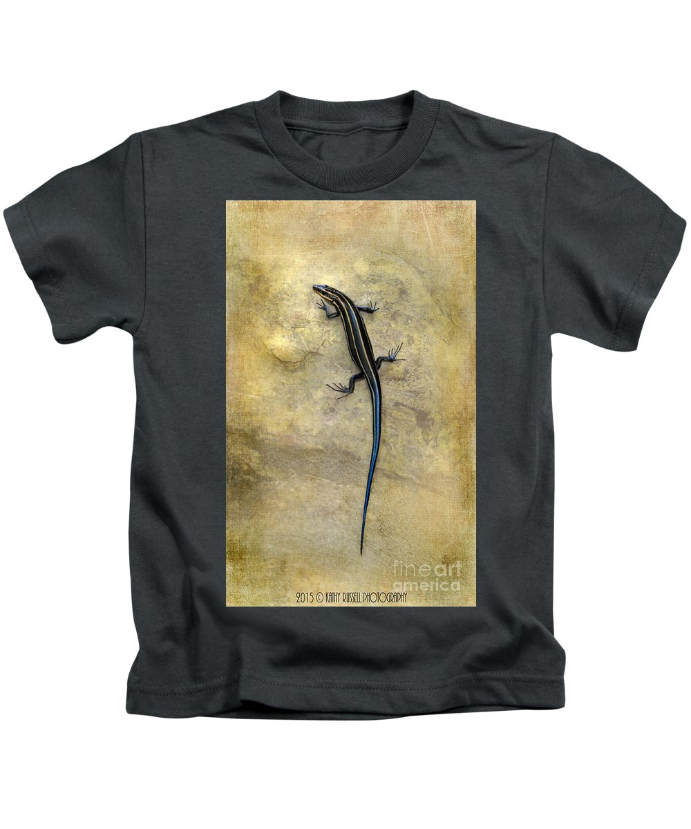 Lizard Kids T-Shirt featuring the photograph Skink by Kathy Russell