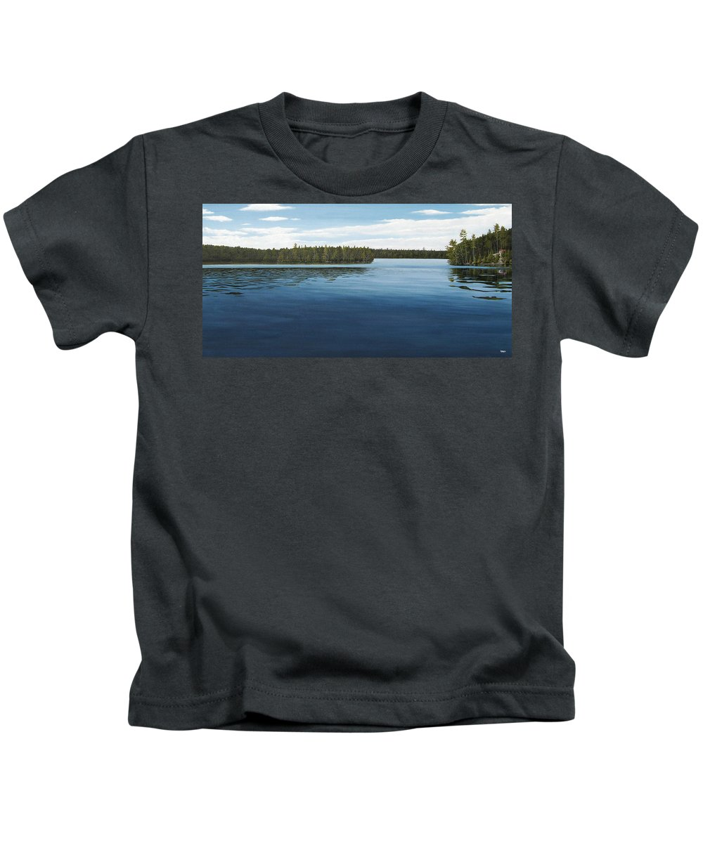 Landscapes Kids T-Shirt featuring the painting Skinners Bay Muskoka by Kenneth M Kirsch