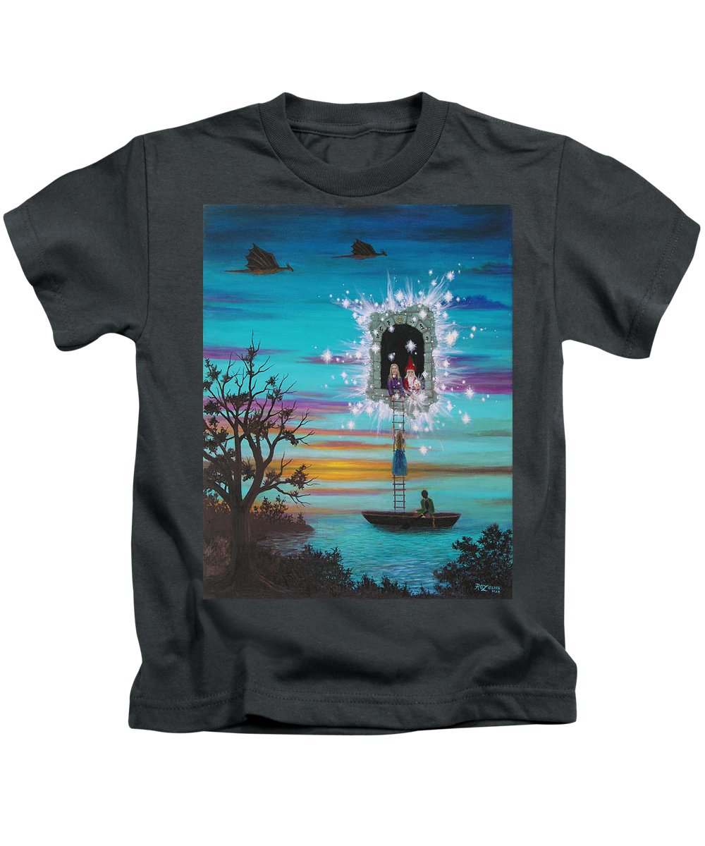 Fantasy Kids T-Shirt featuring the painting Sky Window by Roz Eve