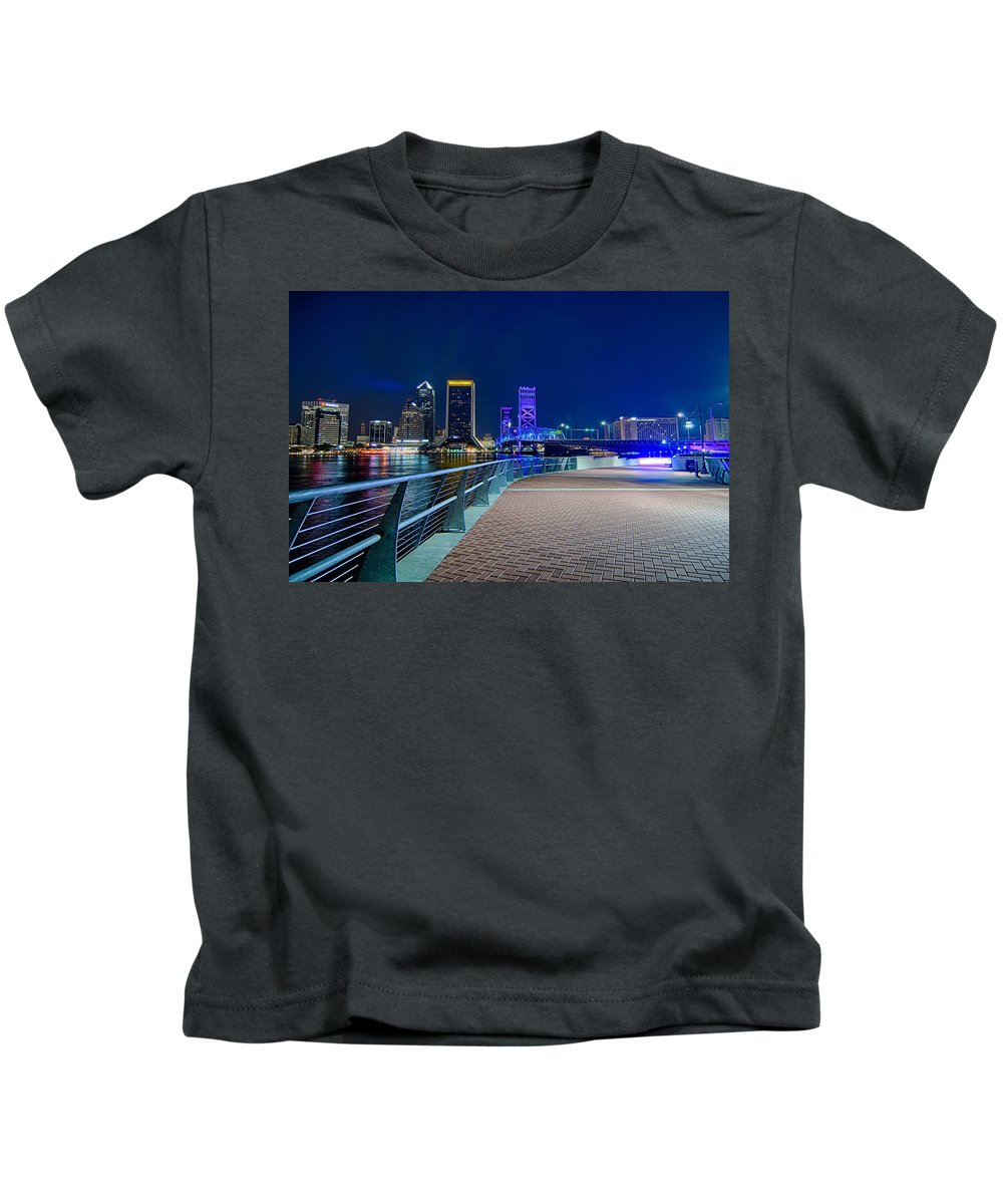 Florida Kids T-Shirt featuring the photograph skyline and river coast scenes in Jacksonville Florida by Alex Grichenko