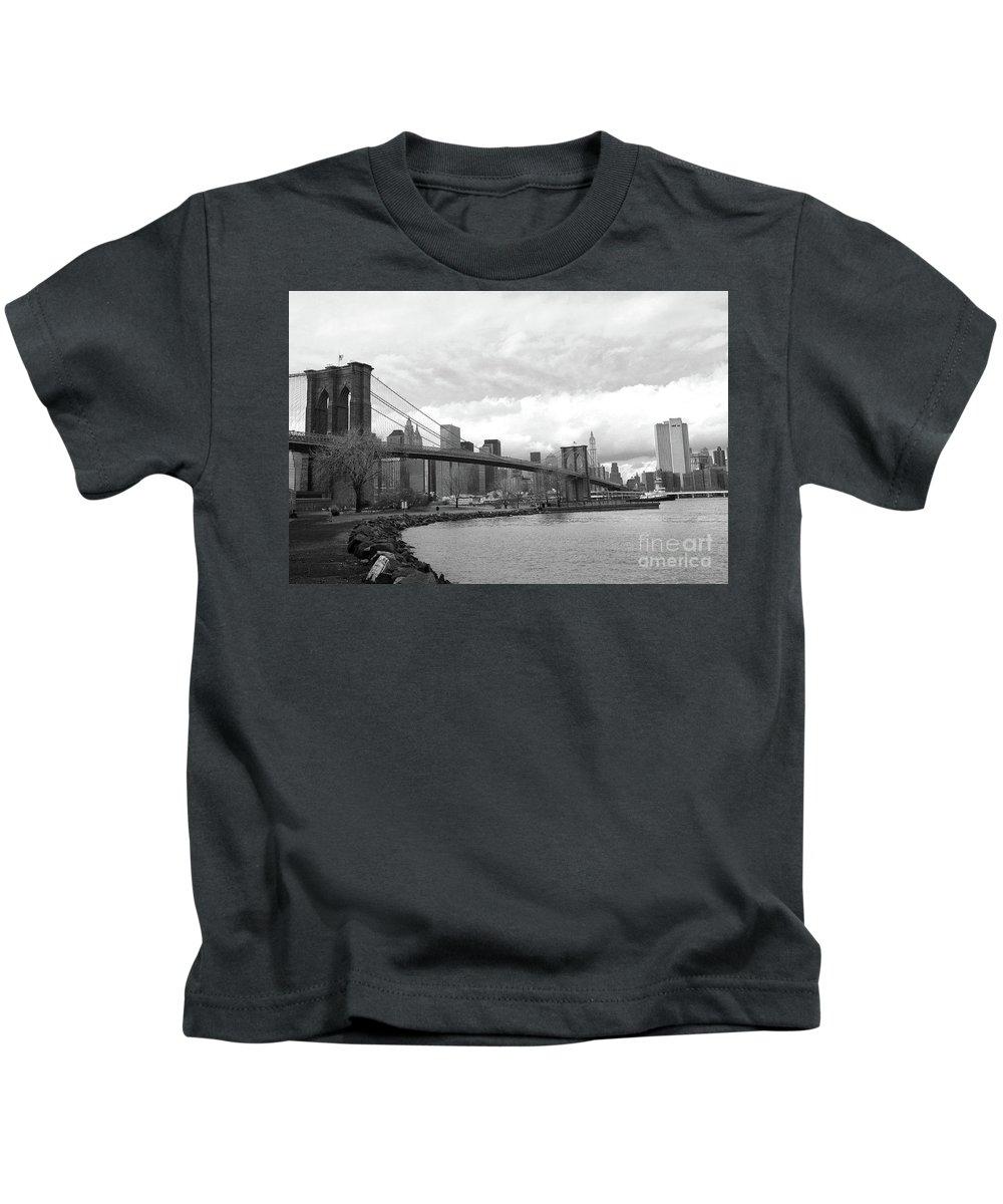Brooklyn Bridge Kids T-Shirt featuring the photograph Skyline Nyc Brooklyn Bridge Bw by Chuck Kuhn