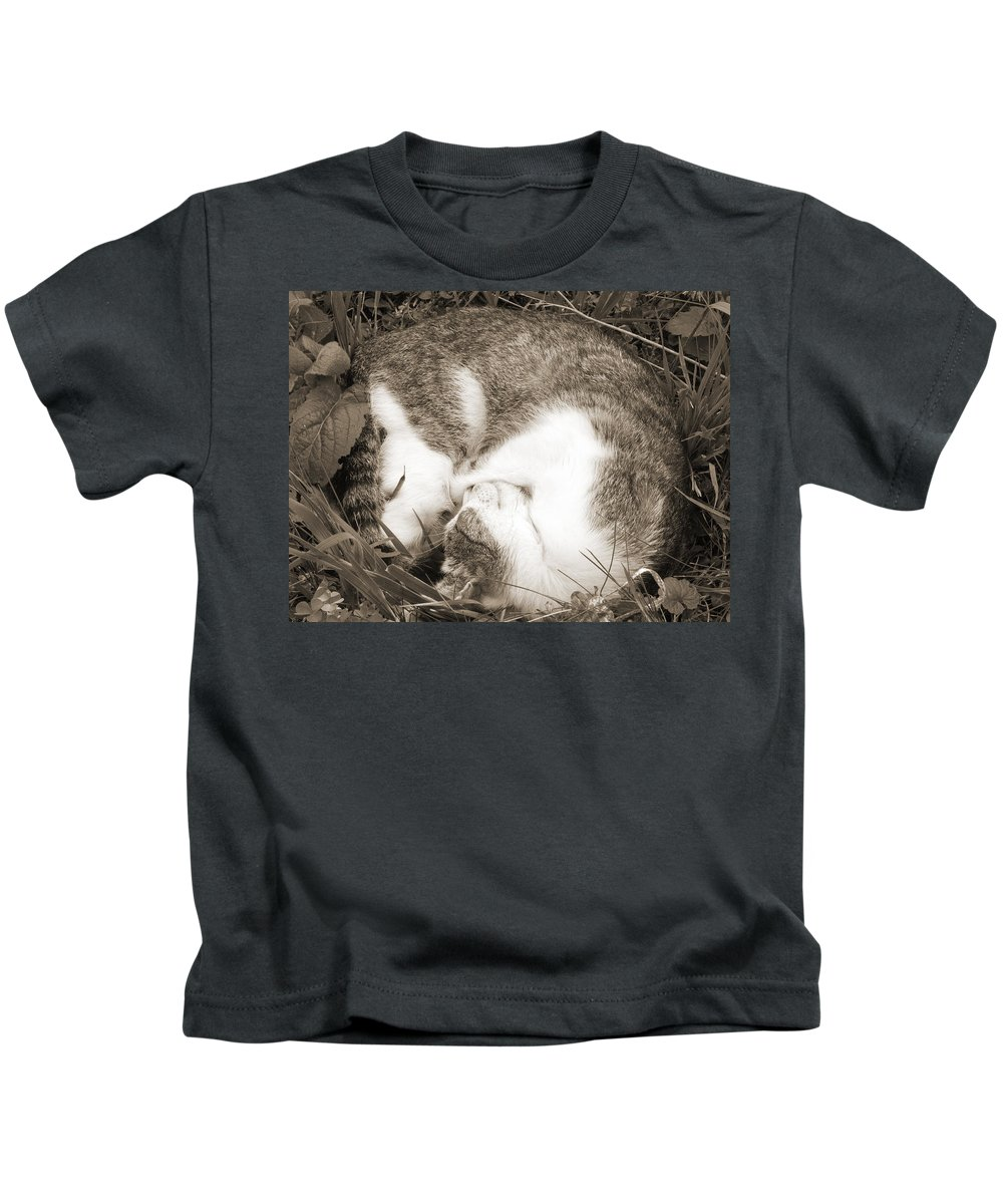Pets Kids T-Shirt featuring the photograph Sleeping by Daniel Csoka