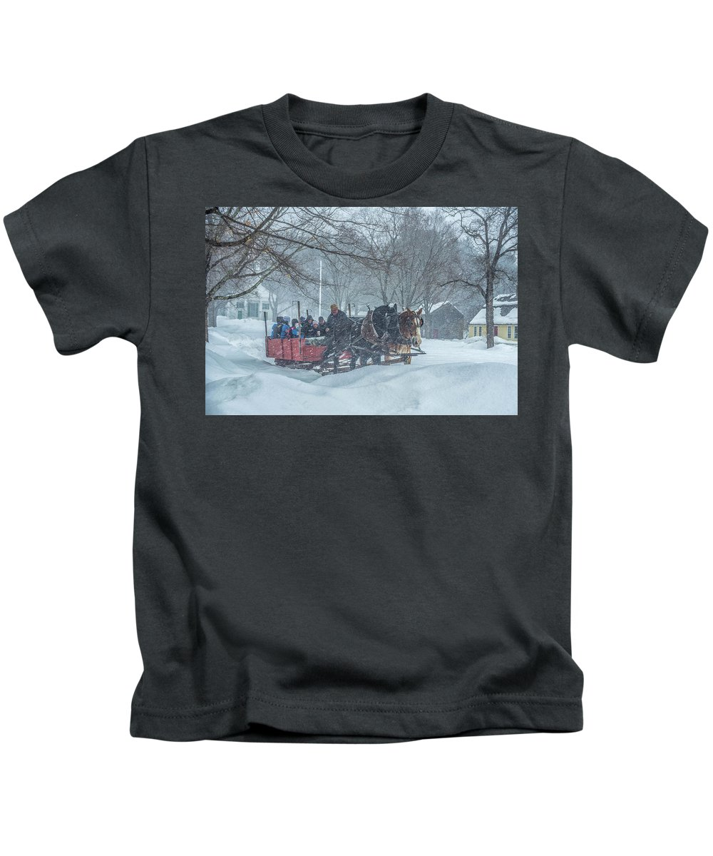 Sleigh Ride Kids T-Shirt featuring the photograph Sleigh Ride by Bruce Coulter