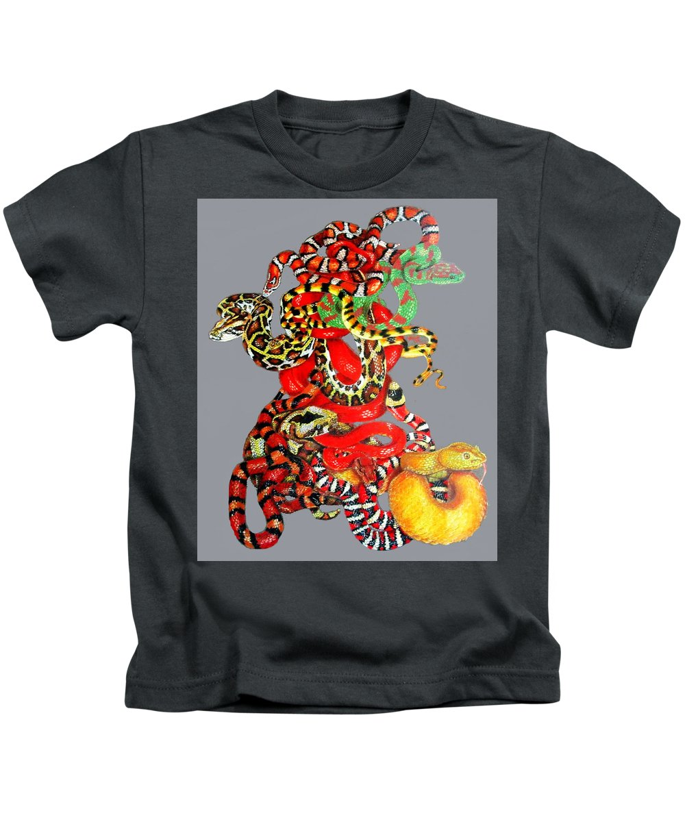 Reptile Kids T-Shirt featuring the drawing Slither by Barbara Keith