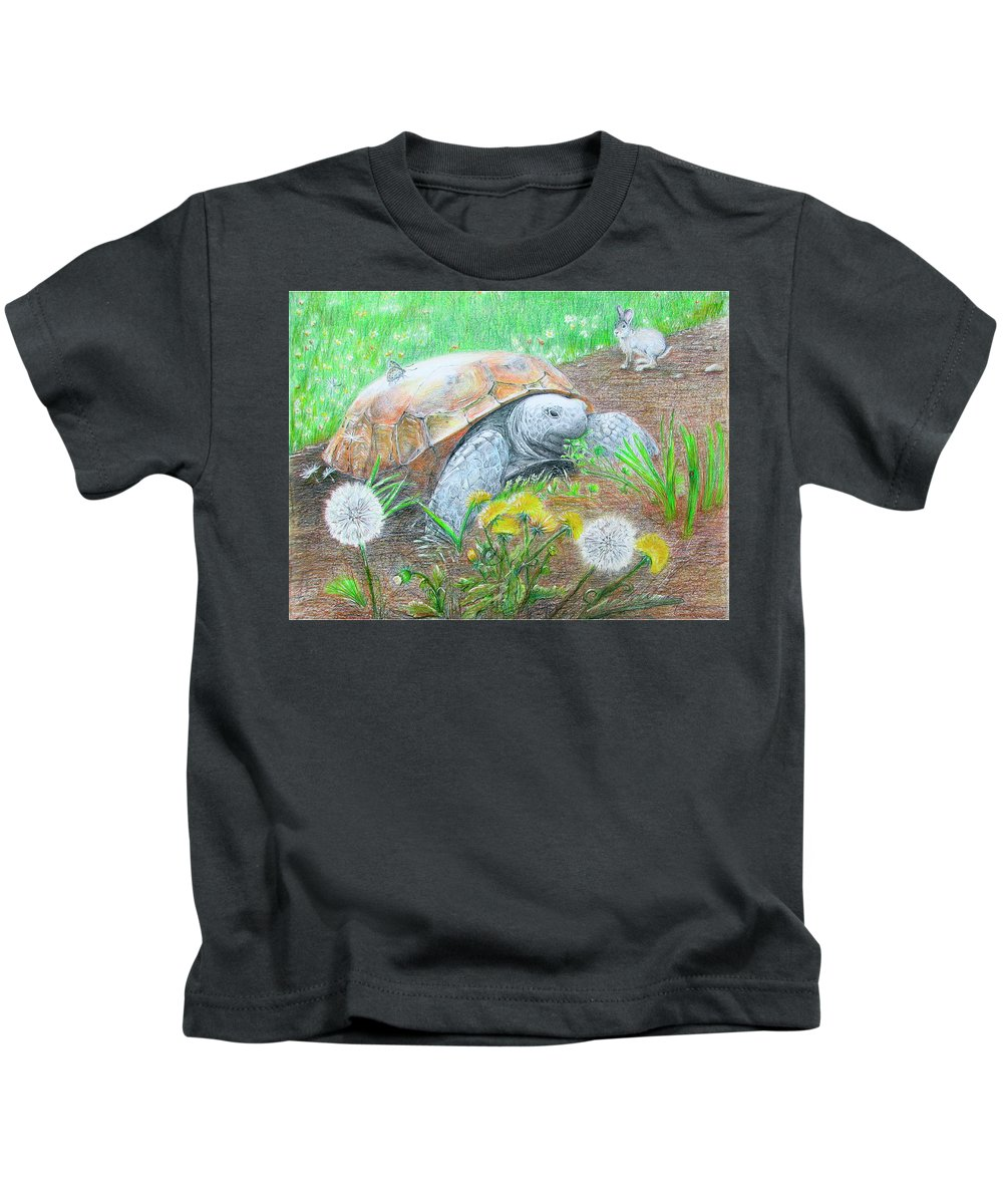 Gopher Tortoise Kids T-Shirt featuring the drawing Slow And Steady by Becky Brooks