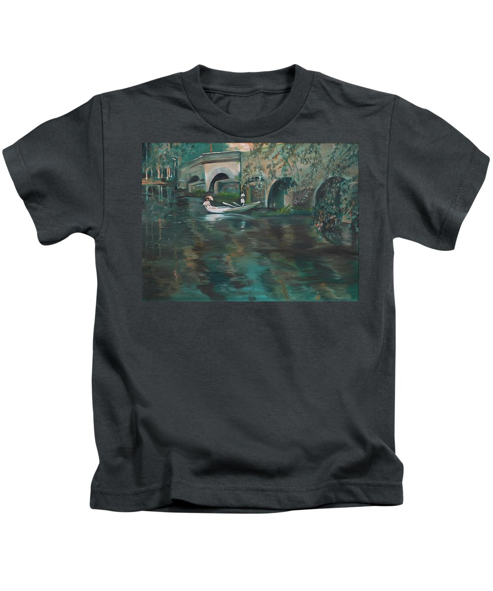 River Kids T-Shirt featuring the painting Slow Boat - Lmj by Ruth Kamenev